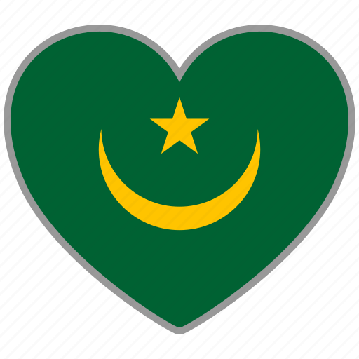 country, flag, flag heart, love, mauritania, nation icon