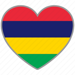 country, flag, flag heart, love, mauritius, nation icon