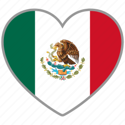 country, flag, flag heart, love, mexico, nation icon