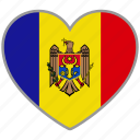 country, flag, flag heart, love, moldova, nation icon