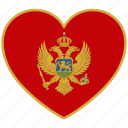 country, flag, flag heart, love, montenegro icon
