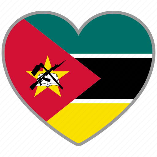 country, flag, flag heart, love, mozambique, national icon
