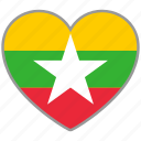 flag, flag heart, love, myanmar, national icon