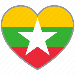 flag, flag heart, love, myanmar, national icon