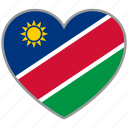 flag heart, namibia, country, flag, national, love