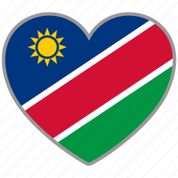 country, flag, flag heart, love, namibia, national icon