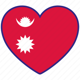 country, flag, flag heart, love, nation, national, nepal icon