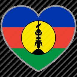 flag, flag heart, love, new caledonia icon