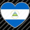 flag heart, nicaragua, country, flag, nation, love