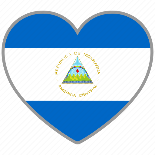 country, flag, flag heart, love, nation, nicaragua icon