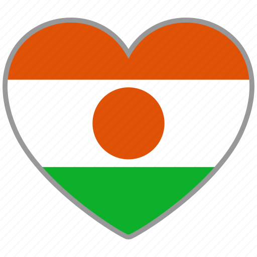 country, flag, flag heart, love, nation, niger icon