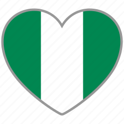 country, flag, flag heart, love, nation, nigeria icon