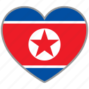 flag, flag heart, love, north korea icon