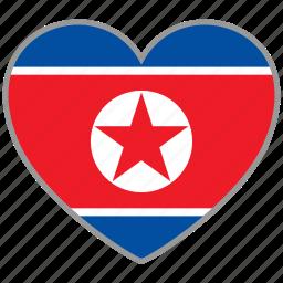 flag, flag heart, love, north korea icon