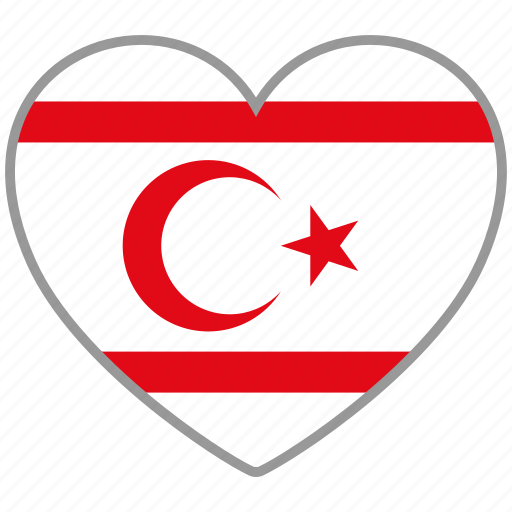 country, flag, flag heart, love, nation, northern cyprus icon