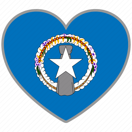 flag, flag heart, love, northern mariana islands icon