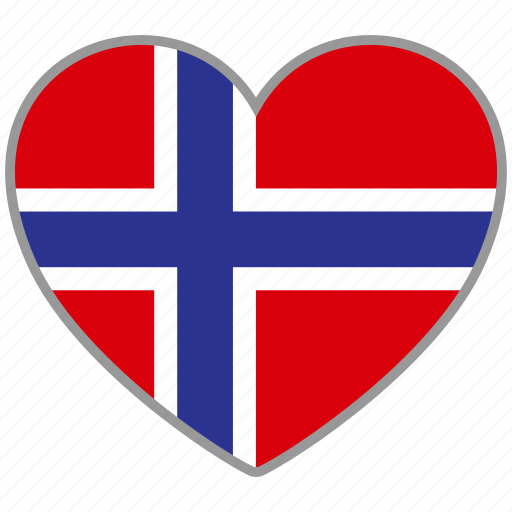 country, flag, flag heart, love, national, norway icon