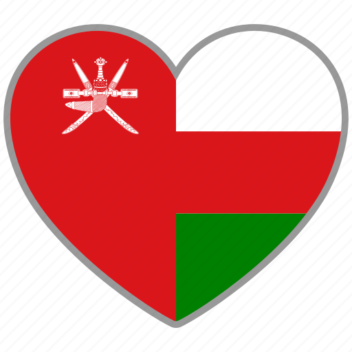 country, flag, flag heart, love, national, oman icon