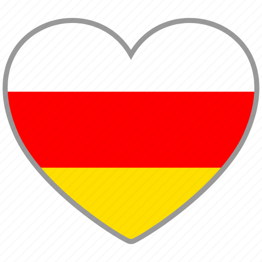 country, flag, flag heart, love, national, ossetia icon