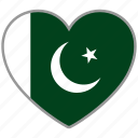 country, flag, flag heart, love, national, pakistan icon