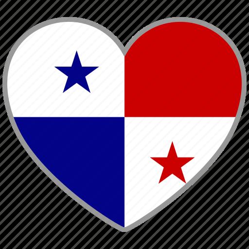 country, flag, flag heart, love, national, panama icon