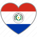 country, flag, flag heart, love, national, paraguay icon