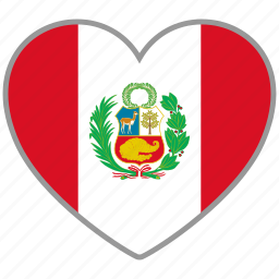 country, flag, flag heart, love, national, peru icon