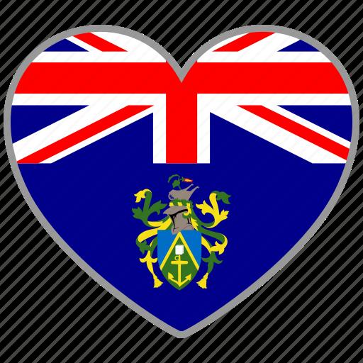 flag, flag heart, love, pitcairn island icon