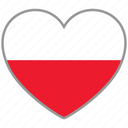country, flag, flag heart, love, national, poland icon