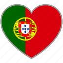 flag heart, portugal, country, flag, national, love
