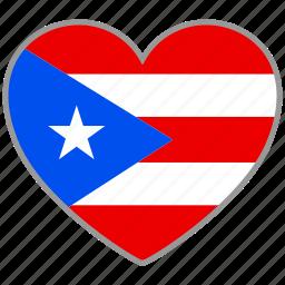 flag, flag heart, love, puerto rico icon