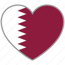 flag heart, qatar, country, flag, national, love