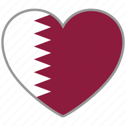 country, flag, flag heart, love, national, qatar icon