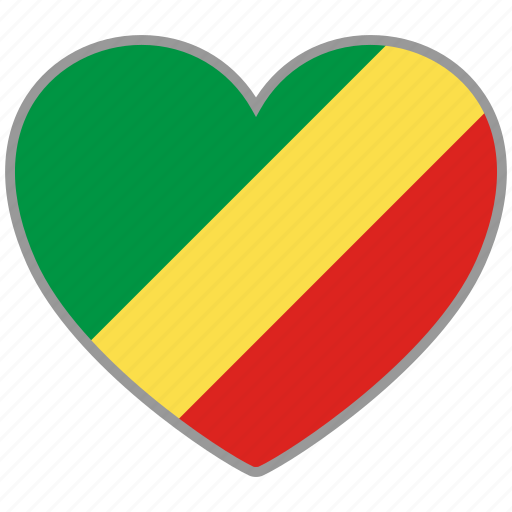flag, flag heart, love, republic of the congo icon