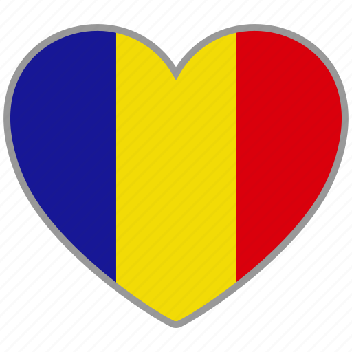 country, flag, flag heart, love, national, romania icon