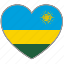 country, flag, flag heart, love, nation, rwanda icon