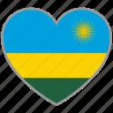 rwanda, flag heart, country, flag, nation, love