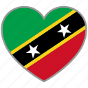 flag heart, saint kitts and nevis, flag, love