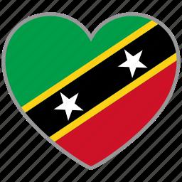 flag, flag heart, love, saint kitts and nevis icon