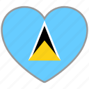 flag, flag heart, love, saint lucia icon