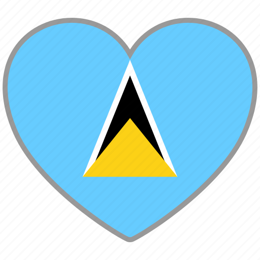 flag, flag heart, love, saint lucia icon