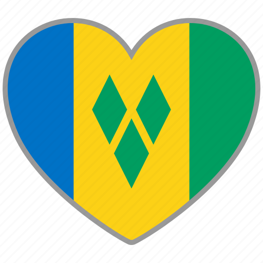 flag, flag heart, love, saint vincent and the grenadines icon
