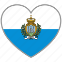 flag, flag heart, love, san marino icon