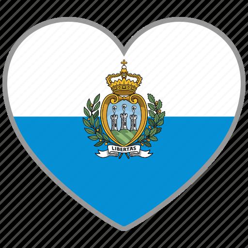 flag, flag heart, love, san marino icon