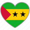 flag, flag heart, love, sao tome and principe icon