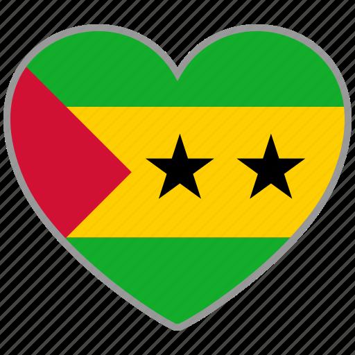 flag, flag heart, love, sao tome and principe icon