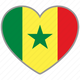 country, flag, flag heart, love, nation, national, senegal icon
