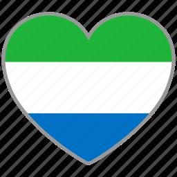 flag, flag heart, love, sierra leone icon