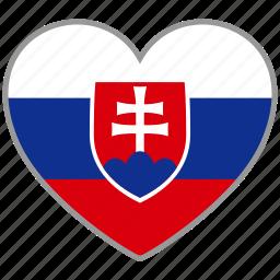 country, flag, flag heart, love, national, slovakia icon