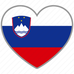 country, flag, flag heart, love, national, slovenia icon